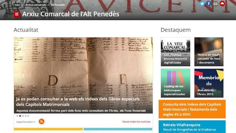 L'Arxiu Comarcal de l'Alt Penedès estrena nou portal web