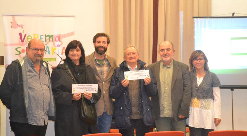 Dues entitats socials del Penedès i del Garraf reben prop de 6.000 euros de la Verema Solidària
