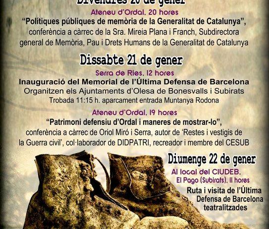 Subirats celebrarà del 20 al 22 de gener les 7 jornades de recuperació de la memòria històrica