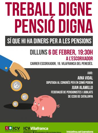 ICV de Vilafranca organitza una xerrada informativa sobre el futur de les pensions