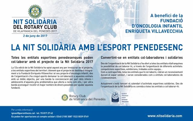 La 12ª Nit Solidària recollirà fons per a la Fundació Enriqueta Villavecchia,