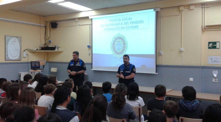 La Policia Local fa diverses xerrades sobre civisme a les escoles de Vilafranca