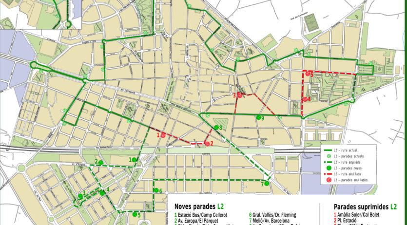 La L2 del bus urbà amplia el seu recorregut i donarà servei a la Girada i el Molí d'en Rovira