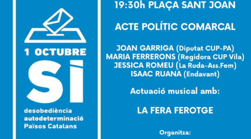El diputat Joan Garriga serà a l'acte polític de l'Esquerra Independentista el 10-S