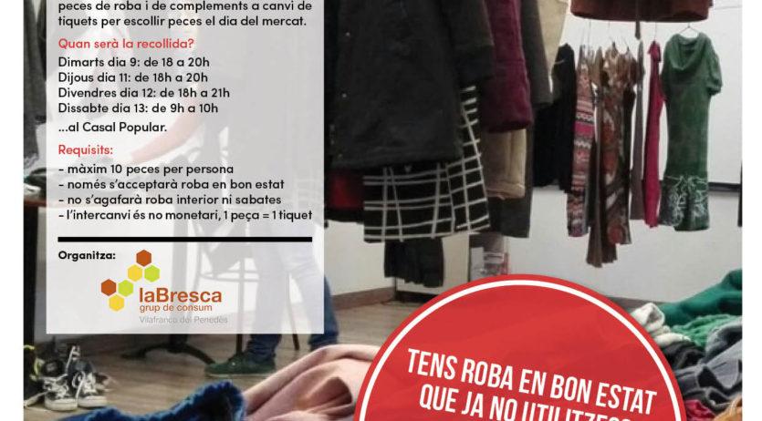 Dissabte se celebra el segon mercat d'intercanvi de roba al Casal Popular de Vilafranca