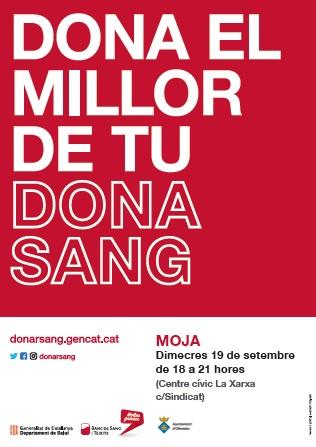 El 19 de setembre es podrà donar sang a Moja