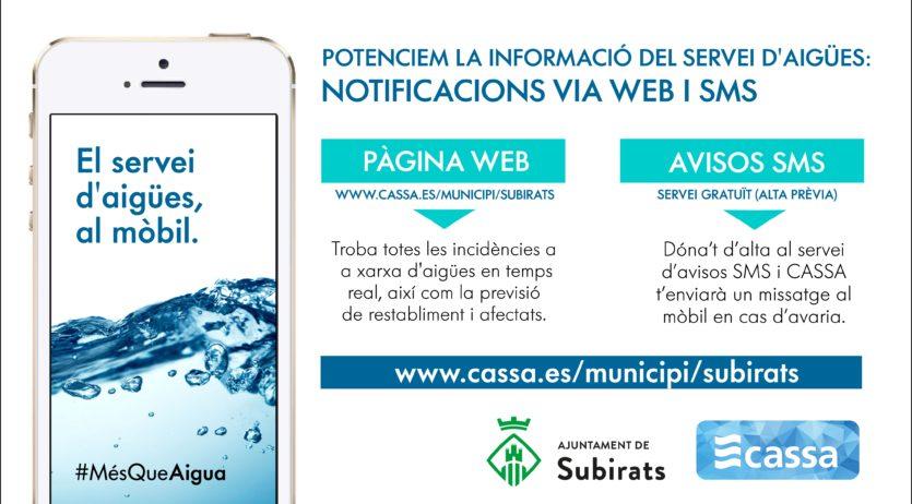 CASSA informarà de les avaries a Subirats a la pàgina web i mitjançant SMS als clients