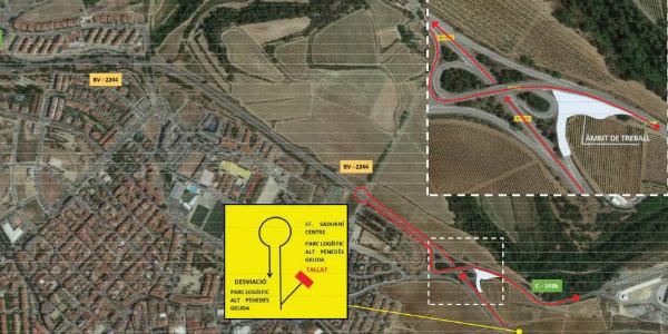 Desviament de trànsit a Sant Sadurní per la construcció de la rotonda de la carretera de Gelida