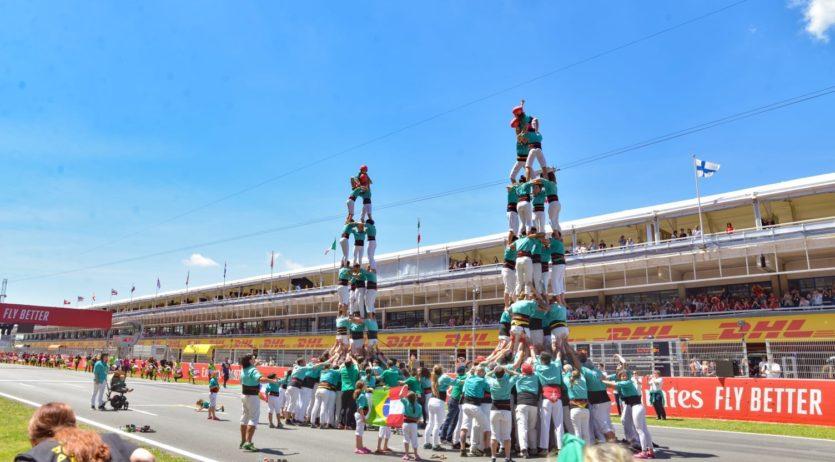 Els Castellers de Vilafranca actuen al Gran Premi de Catalunya de Fórmula 1