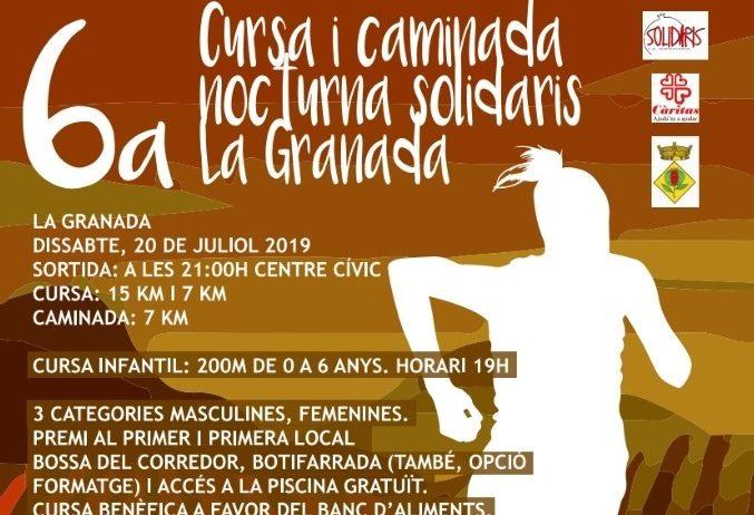 """La 6a edició de la """"Cursa i Caminada Nocturna Solidaris"""" tindrà lloc dissabte a La Granada"""