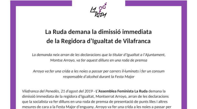 La Ruda demana la dimissió immediata de la Regidora d'Igualtat de Vilafranca