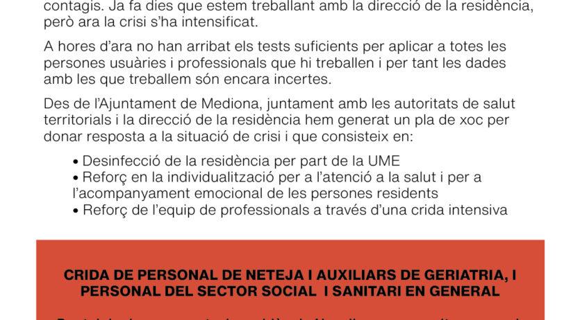 Mediona demana a la UME que faci la desinfecció de la residència Novallar
