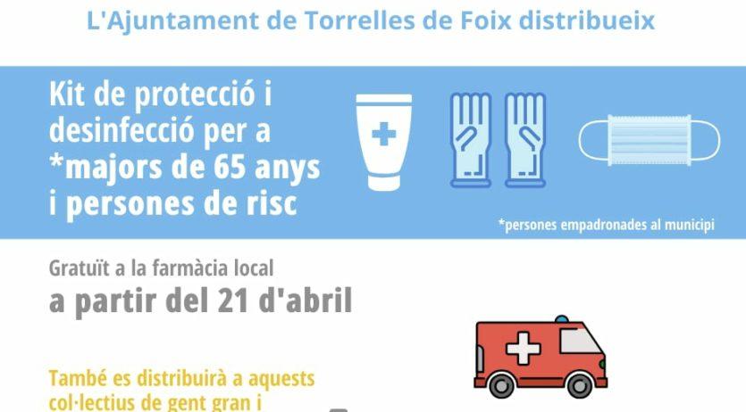 Torrelles distribuirà kits de protecció i desinfecció entre la gent gran i persones de risc