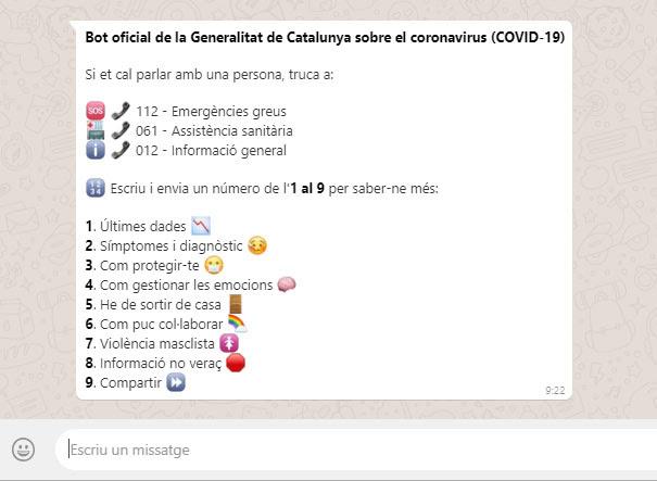 La Generalitat estrena un bot amb informació sobre el coronavirus a WhatsApp