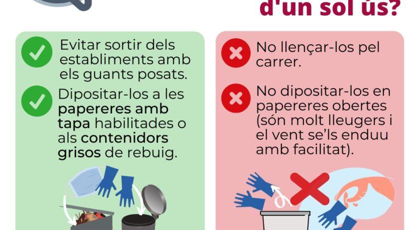Consells per a una correcta gestió de residus com guants i mascaretes d'un sol ús