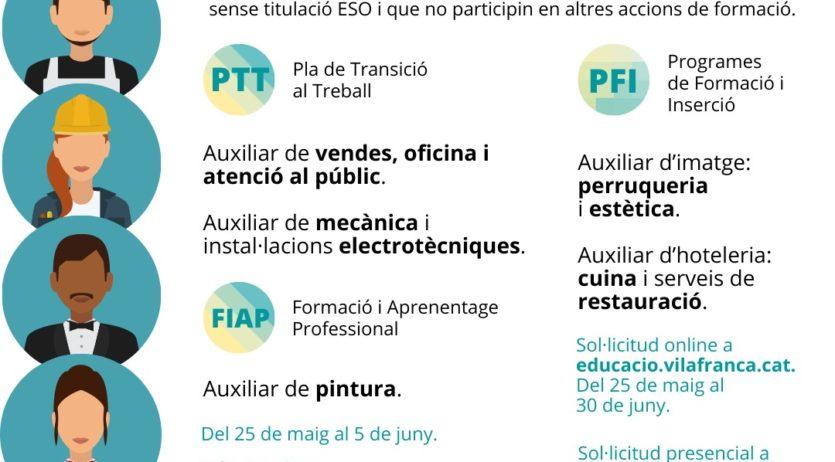 Els Programes de Formació Inserció de Vilafranca obren la preinscripció per al curs 2020–2021